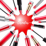Red spilled lip gloss background. Stock Image