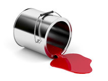 Red spilled paint. From metal canister stock illustration