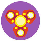 Red spinner with yellow circles a flat style. Vector image on a round purple background. Element of design, interface.  Royalty Free Stock Photography