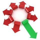 Red spiral arrows directed of the center, with one green arrows faster than others Stock Photo