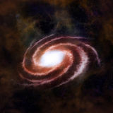 Red spiral galaxy against black space. And stars in deep outer space Stock Image