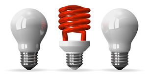 Red spiral light bulb and two white tungsten ones. Red fluorescent light bulb and two white tungsten ones, front view, 3d render  on white Royalty Free Stock Image