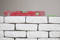 Red spirit building level in construction site Royalty Free Stock Image