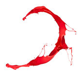 Red splash. Red paint splash, isolated on white background royalty free stock image