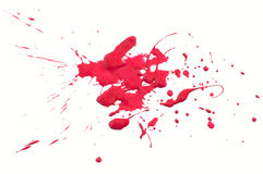 Red splash. Splash of gouache paint on white background Stock Photo
