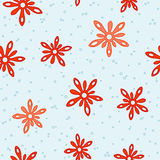 Red splash flowers seamless pattern Royalty Free Stock Photography
