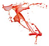 Red splash isolated on a white background.  royalty free stock image
