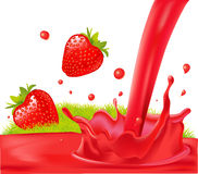 Red splash of strawberry juice -  illustration Stock Photos