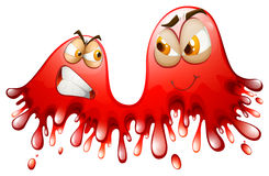 Red splashes with angry and smiling faces Royalty Free Stock Photos