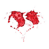 Red splashes in shape of heart. Vector illustration of red splashes in shape of heart, valentine`s day decoration Royalty Free Stock Photo