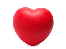 Red sponge with heart shape isolated on white Royalty Free Stock Images