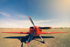 Red sport aircraft. Royalty Free Stock Image