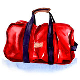 Red Sport Bag. Watercolor painting on white background Stock Image