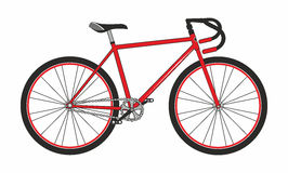 Red sport bicycle on white background, vector illu Royalty Free Stock Photos