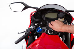 Red sport bike Royalty Free Stock Image