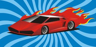 Red sport car. An illustration of a red sport car with a flame on a blue background Royalty Free Stock Images