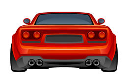 Red sport car. Back view on a white background Royalty Free Stock Photography