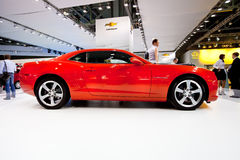 Red sport car Chevrolet Camaro. MOSCOW, RUSSIA - AUGUST 25:  Red sport car Chevrolet Camaro at Moscow International exhibition InterAuto on August 25, 2010 in Stock Image