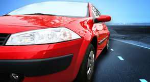 Red Sport Car on a HighWay Stock Photography