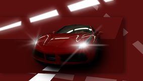 Red sport car. Machine industry, red sport car on a red background Stock Photos