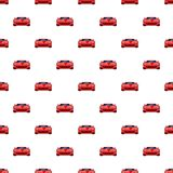 Red sport car pattern seamless. Repeat in cartoon style vector illustration Stock Photos