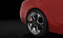 Red sport car , rear wheel Royalty Free Stock Photos