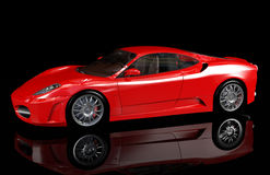 Red sport car, side view Stock Photos