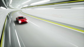 Red sport car in a tunnel. fast driving. 3d animation. Red sport car in a tunnel. fast driving. 3d animation stock video footage