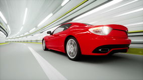 Red sport car in a tunnel. fast driving. 3d animation. Red sport car in a tunnel. fast driving. 3d animation stock video