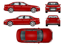 Red sport car vector template. Royalty Free Stock Images