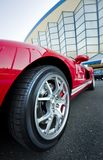 Red Sport Car Wheel. Closeup of a red Sport Car Wheel Royalty Free Stock Photography
