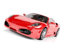 Red sport car on white background. 3D render Royalty Free Stock Photos
