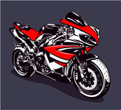 Red sport motorbike Stock Images