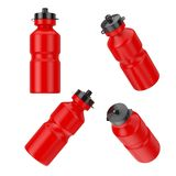 Red Sport Plastic Drinking Water Bottles in Different Position. 3d Rendering vector illustration