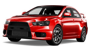 Red sport sedan car Stock Photo