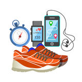 Red sport sneakers, heart rate monitor, phone, and stopwatch Stock Photos