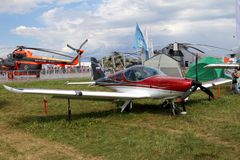 Red sports aircraft of the Czech company BRM Aero Bristell at th Stock Image
