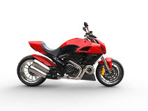 Red sports bike - studio lighting - side view Royalty Free Stock Photo