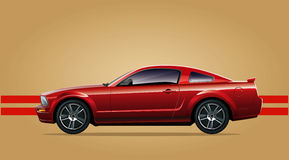 Red sports car. On a beige background Royalty Free Stock Image