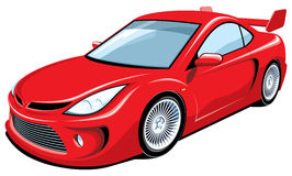 Red sports car. Vector red sports car on white background Royalty Free Stock Photos