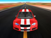 Red sports car - 3D render Stock Photos