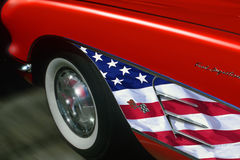 Red sports car with American flag trim Stock Photography