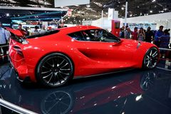 Red sports car at the auto show Royalty Free Stock Photo