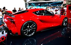 Red sports car at the auto show Royalty Free Stock Photos