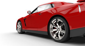 Red sports car - back side view Royalty Free Stock Photos