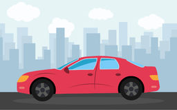 Red sports car in the background of skyscrapers in the afternoon. Vector illustration Stock Photography