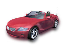 Red Sports Car with Clipping Path Stock Photo