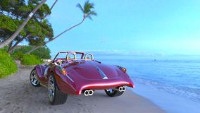 Red sports car. 3D CG rendering of a red sports car Royalty Free Stock Photography