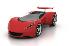 Red sports car. 3D red sports car front view on white background Royalty Free Stock Photography