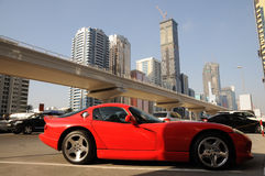 Red Sports Car in Dubai Stock Photo
